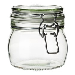 "KORKEN jar with lid, clear glass Height: 4 "" Diameter: 4 3/8 "" Volume: 17 oz Height: 10.5 cm Diameter: 11 cm Volume: 0.5 l"