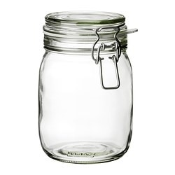 "KORKEN jar with lid, clear glass Diameter: 4 3/4 "" Height: 7 "" Volume: 34 oz Diameter: 12 cm Height: 16.5 cm Volume: 1 l"
