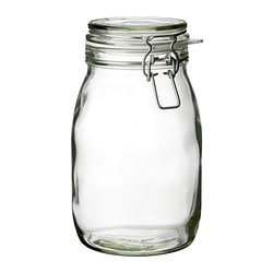 "KORKEN jar with lid, clear glass Diameter: 4 7/8 "" Height: 8 "" Volume: 2 qt Diameter: 12.5 cm Height: 21.5 cm Volume: 1.8 l"