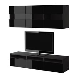 BESTÅ storage combination w doors/drawers, black, black-brown Width: 180 cm Depth: 40 cm Height: 38 cm