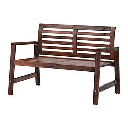 ÄPPLARÖ bench with backrest, outdoor, brown stained brown Width: 117 cm Depth: 65 cm Height: 80 cm
