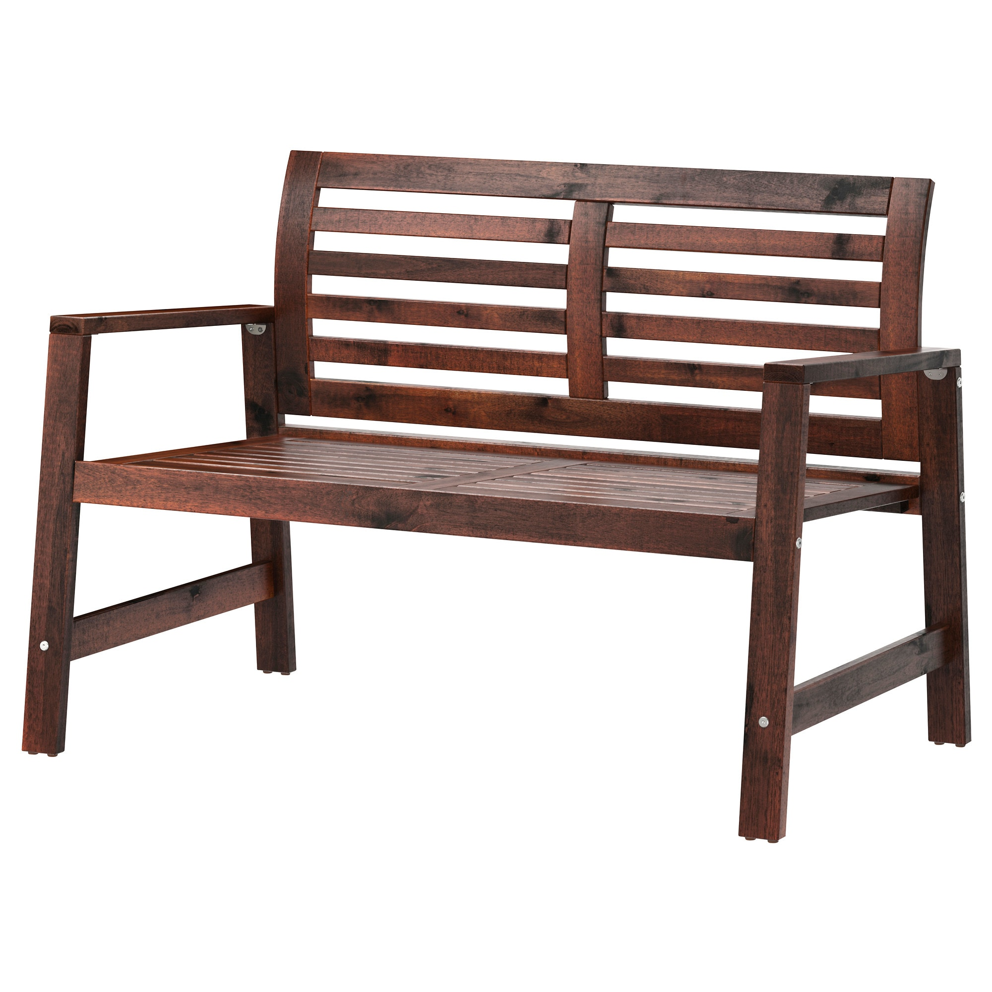 ÄPPLARÖ Bench With Backrest, Outdoor, Brown Brown Stained Width: 46 1/8