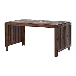 ÄPPLARÖ drop-leaf table, outdoor, brown stained brown Length: 200 cm Min. length: 140 cm Max. length: 260 cm
