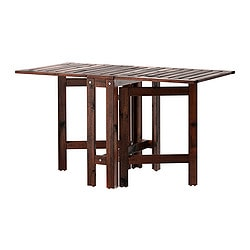 ÄPPLARÖ gateleg table, outdoor, brown stained brown Length: 77 cm Min. length: 20 cm Max. length: 133 cm
