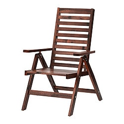 ÄPPLARÖ reclining chair, outdoor, foldable brown brown stained brown Width: 63 cm Depth: 80 cm Height: 101 cm