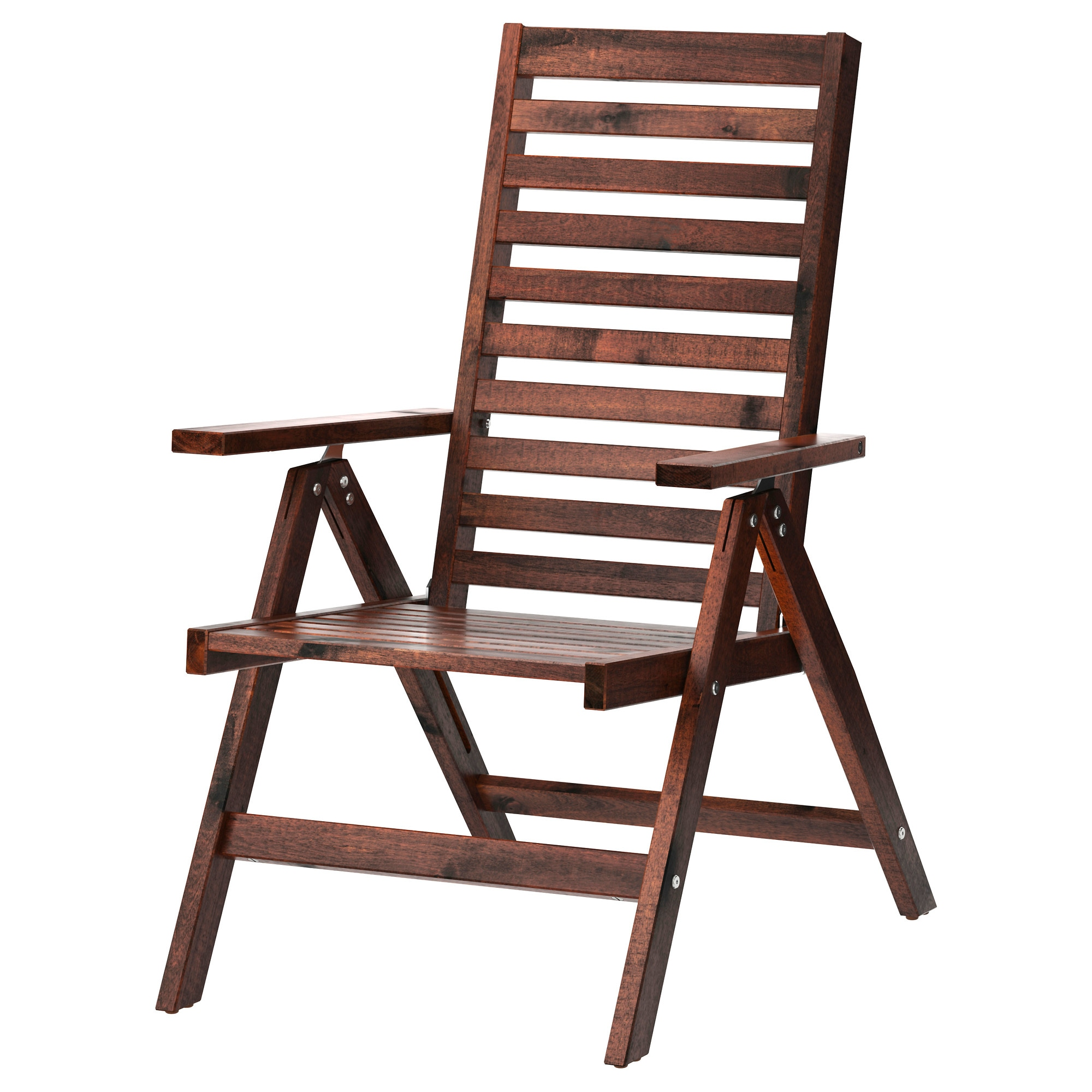 ÄPPLARÖ Reclining Chair, Outdoor, Foldable Brown Brown Stained Brown Width:  24 3/