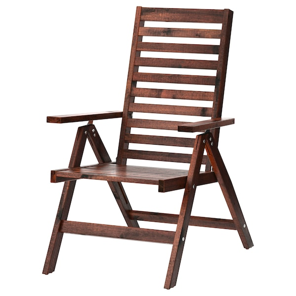 Reclining Chair Outdoor äpplarö Foldable Brown Stained
