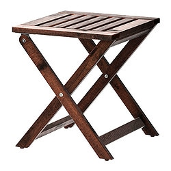 ÄPPLARÖ stool, outdoor, foldable brown stained Width: 40 cm Depth: 38 cm Height: 42 cm