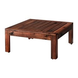ÄPPLARÖ, Table/stool section, outdoor, brown stained brown