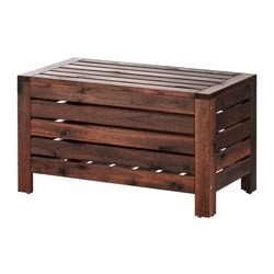"ÄPPLARÖ storage bench, outdoor, brown brown stained Width: 31 1/2 "" Depth: 16 1/8 "" Height: 17 3/8 "" Width: 80 cm Depth: 41 cm Height: 44 cm"