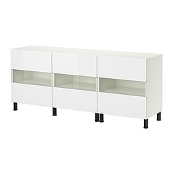 BESTÅ storage combination with doors, high-gloss white, white Width: 180 cm Depth: 40 cm Height: 74 cm