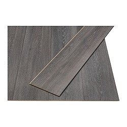 GOLV laminated flooring, dark grey, oak effect Length: 138 cm Width: 19.0 cm Plank thickness: 8 mm