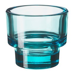 "GLANSIG tealight holder, blue Diameter: 3 ¼ "" Height: 3 ¼ "" Diameter: 8 cm Height: 8 cm"