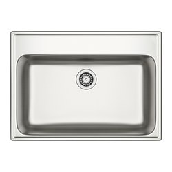 "BOHOLMEN single-bowl inset sink, stainless steel Length: 29 7/8 "" Depth: 21 5/8 "" Height: 7 1/8 "" Length: 76 cm Depth: 55 cm Height: 18 cm"