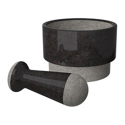 "ÄDELSTEN mortar and pestel, marble black Diameter: 6 "" Height: 4 "" Diameter: 14 cm Height: 10 cm"