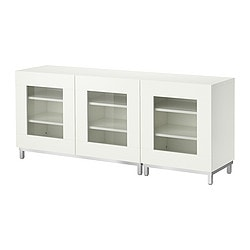 BESTÅ storage combination with doors, white Width: 180 cm Depth: 40 cm Height: 74 cm