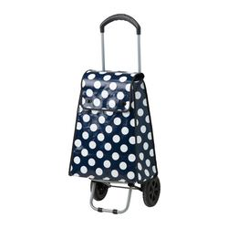 UPPTÄCKA shopping bag with wheels, white, blue Max. load: 44 lb Volume: 11 gallon Max. load: 20 kg Volume: 40 l