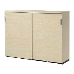 GALANT cabinet with sliding doors, birch veneer Width: 160 cm Depth: 45 cm Height: 120 cm