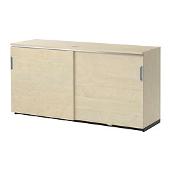 GALANT cabinet with sliding doors, birch veneer Width: 160 cm Depth: 45 cm Height: 80 cm