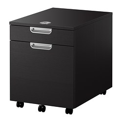 GALANT drawer unit with drop-file storage, black-brown
