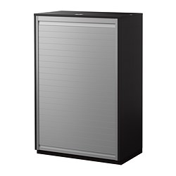 GALANT roll-front cabinet, black-brown Width: 80 cm Depth: 45 cm Height: 120 cm