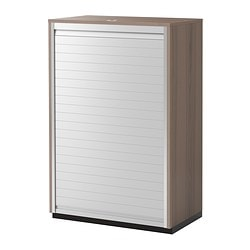 GALANT roll-front cabinet, grey Width: 80 cm Depth: 45 cm Height: 120 cm