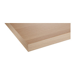 "PRÄGEL countertop, light oak effect Length: 73 1/4 "" Depth: 25 5/8 "" Thickness: 1 1/2 "" Length: 186 cm Depth: 65 cm Thickness: 3.8 cm"