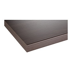 "PRÄGEL countertop, dark walnut effect Length: 73 1/4 "" Depth: 25 5/8 "" Thickness: 1 1/2 "" Length: 186 cm Depth: 65 cm Thickness: 3.8 cm"
