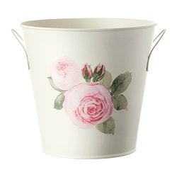 ROSÉPEPPAR plant pot with handles, off-white Outside diameter: 20 cm Max. diameter flowerpot: 17 cm Height: 18 cm