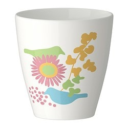 "TECKNAT plant pot, patterned, white Outside diameter: 6 "" Max. diameter inner pot: 4 ¾ "" Height: 6 "" Outside diameter: 15 cm Max. diameter inner pot: 12 cm Height: 15 cm"