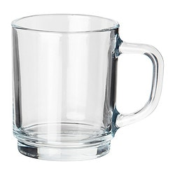 "TECKEN mug, clear glass Height: 4 "" Volume: 7 oz Height: 9 cm Volume: 22 cl"