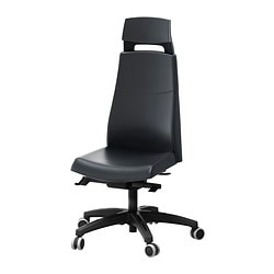 "VOLMAR swivel chair with headrest, Mjuk black Tested for: 242 lb 8 oz Width: 29 1/8 "" Depth: 29 1/8 "" Tested for: 110 kg Width: 74 cm Depth: 74 cm"