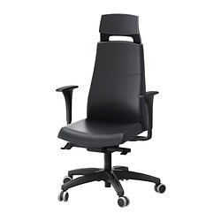 "VOLMAR swivel chair with headrest/armrests, Mjuk black Tested for: 242 lb 8 oz Width: 29 1/8 "" Depth: 29 "" Tested for: 110 kg Width: 74 cm Depth: 74 cm"