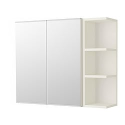 LILLÅNGEN mirror cabinet 2 doors/1 end unit, white Width: 80 cm Depth: 21 cm Height: 64 cm