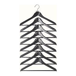 "BUMERANG curved clothes hanger, black Width: 16 7/8 "" Thickness: 9/16 "" Package quantity: 8 pack Width: 43 cm Thickness: 14 mm Package quantity: 8 pack"