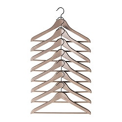 "BUMERANG curved clothes hanger, brown, gray Width: 16 7/8 "" Thickness: 9/16 "" Package quantity: 8 pack Width: 43 cm Thickness: 14 mm Package quantity: 8 pack"