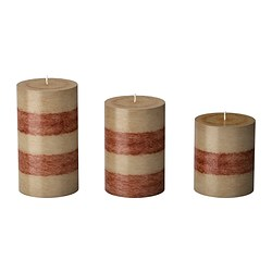 RANDIG scented block candle, set of 3, beige