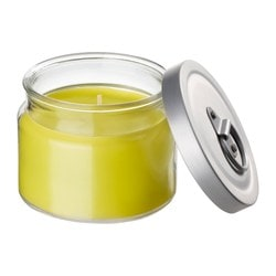 "FLÄRDFULL scented candle in glass, yellow Diameter: 3 ½ "" Height: 3 ¼ "" Burning time: 25 hr Diameter: 9 cm Height: 8 cm Burning time: 25 hr"