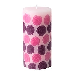 STRÄV unscented block candle, lilac, pink Diameter: 7 cm Height: 14 cm Burning time: 45 hr