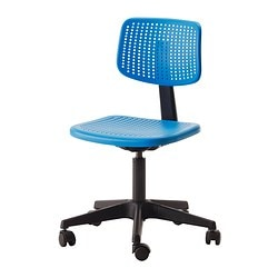 "ALRIK swivel chair, blue Tested for: 242 lb 8 oz Width: 24 "" Depth: 24 "" Tested for: 110 kg Width: 61 cm Depth: 61 cm"