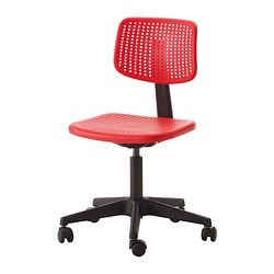 "ALRIK swivel chair, red Tested for: 242 lb 8 oz Width: 24 "" Depth: 24 "" Tested for: 110 kg Width: 61 cm Depth: 61 cm"