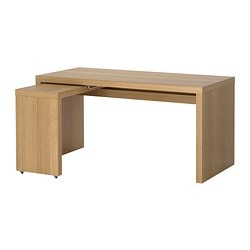 MALM desk with pull-out panel, oak veneer Width: 151 cm Depth: 65 cm Height: 73 cm