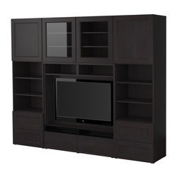 BESTÅ TV storage combination, black-brown Width: 240 cm Depth: 40 cm Height: 192 cm