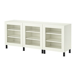 BESTÅ/ BESTÅ VASSBO storage combination with doors, white Width: 180 cm Depth: 40 cm Height: 74 cm
