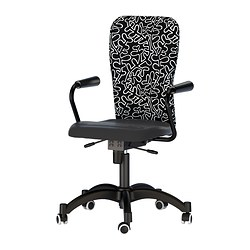 "NOMINELL swivel chair with armrests, patterned, black Tested for: 242 lb 8 oz Width: 29 1/8 "" Depth: 27 1/8 "" Tested for: 110 kg Width: 74 cm Depth: 69 cm"