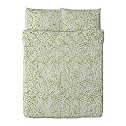 "GRÖNKULLA duvet cover and pillowcase(s), white/green Duvet cover length: 86 "" Duvet cover width: 86 "" Pillowcase length: 20 "" Duvet cover length: 218 cm Duvet cover width: 218 cm Pillowcase length: 51 cm"