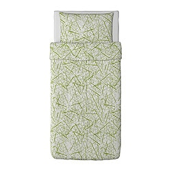 "GRÖNKULLA duvet cover and pillowcase(s), white/green Duvet cover length: 86 "" Duvet cover width: 64 "" Pillowcase length: 20 "" Duvet cover length: 218 cm Duvet cover width: 162 cm Pillowcase length: 51 cm"