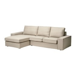 KIVIK two-seat sofa and chaise longue, Dansbo beige Width: 280 cm Depth: 163 cm Height: 83 cm