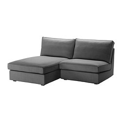 KIVIK one-seat section with chaise longue, Svanby grey Width: 180 cm Depth: 163 cm Height: 83 cm