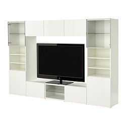 BESTÅ TV storage combination, high-gloss white, white Width: 300 cm Depth: 40 cm Height: 192 cm
